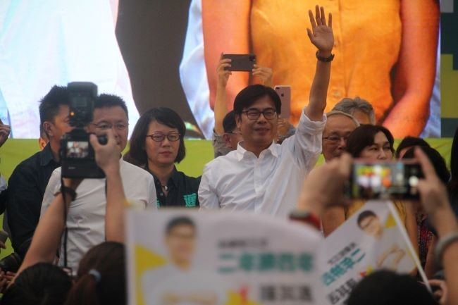 Chen Chi-mai celebrates landslide victory in Kaohsiung's mayoral by-election.