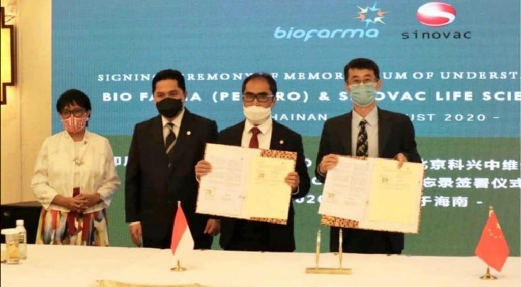 Indonesian Foreign Minister Retno Marsudi (left) atMOU signingin Hainan.