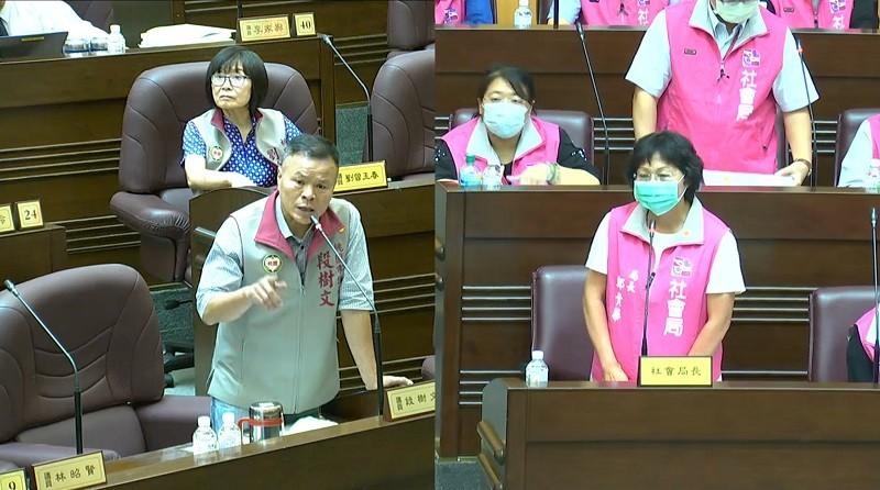 圖為段樹文(左) 8月19日在議會社會局工作報告時, 就長照議題質詢社會局鄭局長 (官方臉書)