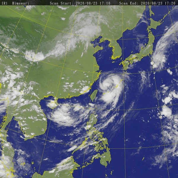 Satellite image around Taiwan issued by the CWB at 5:20 p.m. on Aug. 23 (CWB photo)