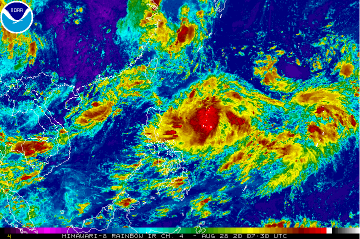 Tropical Storm Maysak formed east of the Philippines on Friday, Aug. 28. (NOAA photo)