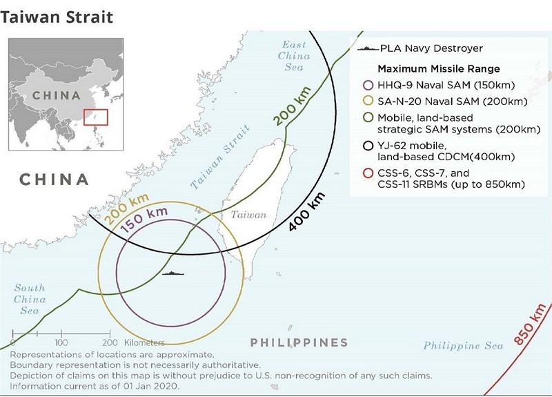共軍地對空與軍艦飛彈的射程範圍(圖/美國國防部網頁)