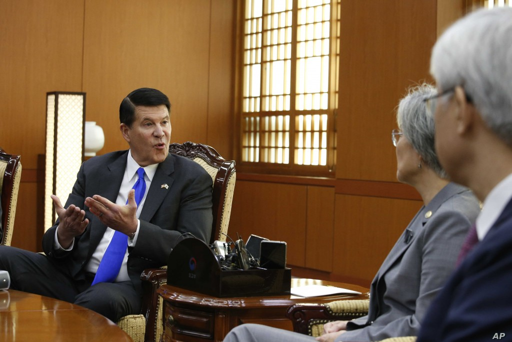 Undersecretary of State Keith Krach (left) holding talks in South Korea in 2019