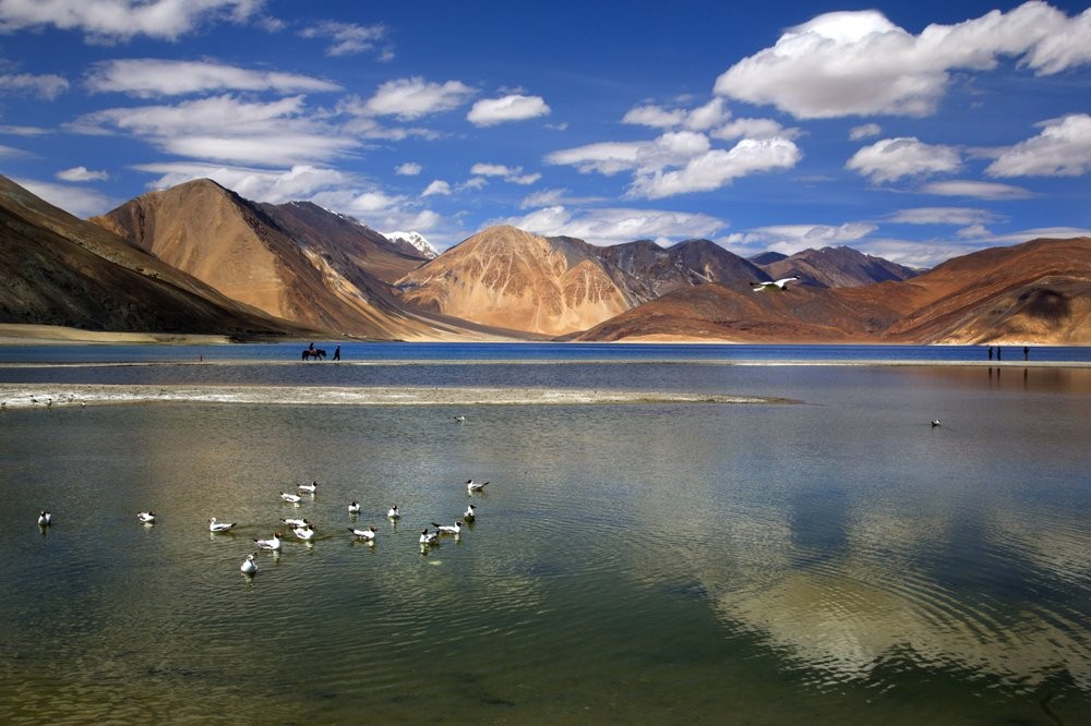 Pangong Lake in the disputed border area between India and China