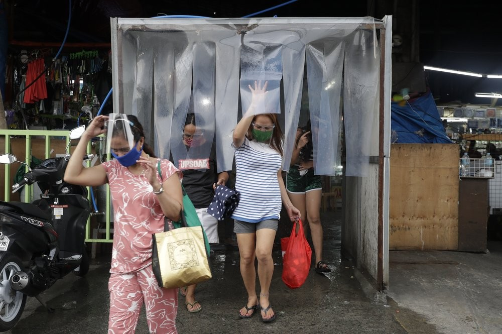 A disinfection zone at a market in the Philippines