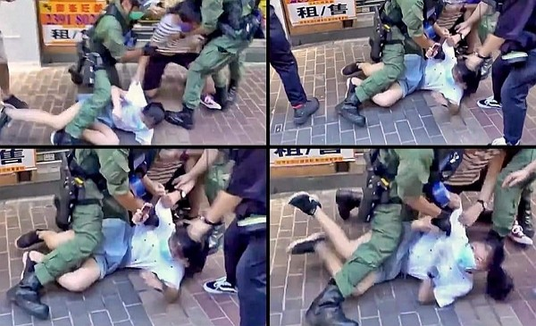 12-year-old girl subdued by Hong Kong police with extreme force. (Twitter, Anthony Cheung photo)