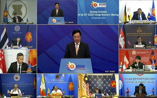 Southeast Asian countries discuss coronavirus pandemic and U.S.-China tensions Sept. 9.