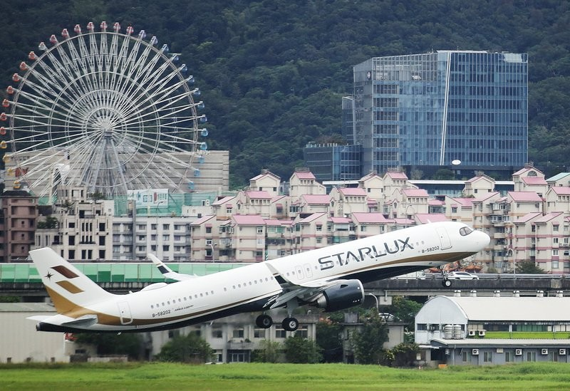 A StarLux flight taking off from Taipei Songshan Airport