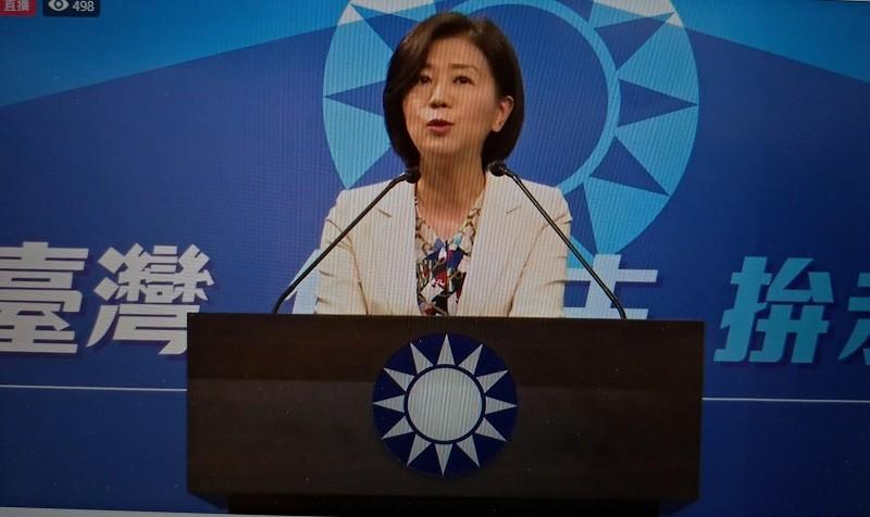 圖為國民黨文傳會主委王育敏14日記者會 (臉書直播截圖)