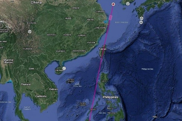 Trajectory of Long March-11 rocket over Taiwan. (Weibo image)