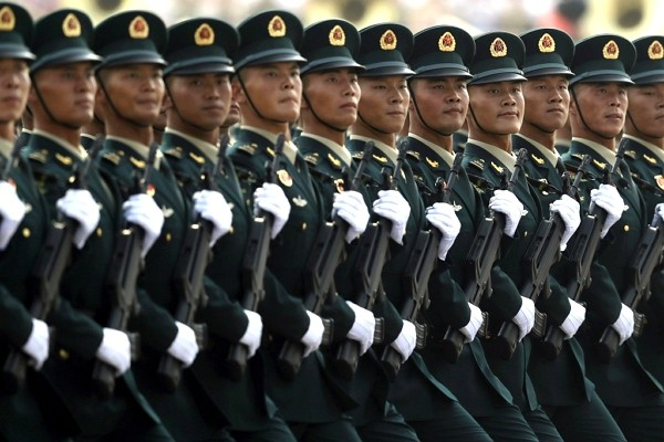 Chinese soldiers marching in formation.