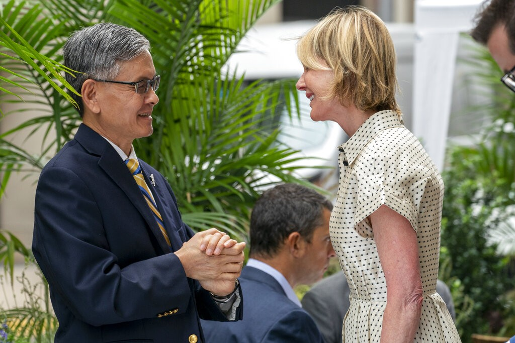 U.S. Ambassador to the United Nations Kelly Craft, right, meets James K.J. Lee, director-general of the Taipei Economic and Cultural Office in New Yor...