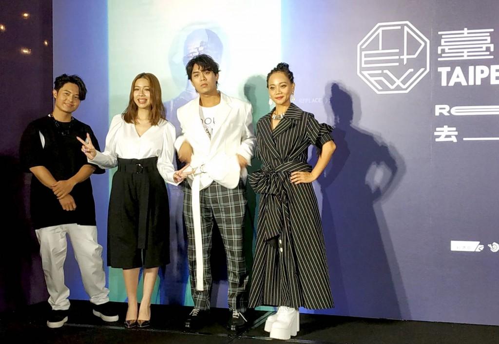 阿爆(左)及樂團告五人出席24日台北時裝週記者會(圖/台灣英文新聞)