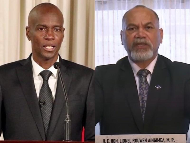Haitian President Jovenel Moise (left) and Nauruan PresidentLionel Rouwen Aingimea.
