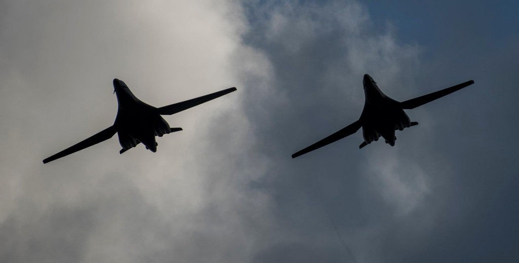 Two 9th Expeditionary Bomb Squadron B-1B Lancers fly in formation before landing at Andersen Air Force Base, Guam, May 22, 2020. (USAF photo)