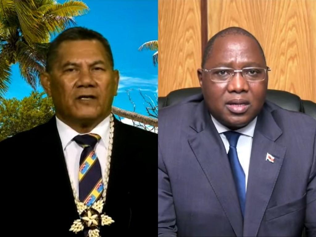 友邦吐瓦魯總理拿塔諾(左)、史瓦帝尼總理戴安伯(右)25日在聯大總辯論相繼發聲挺台。(圖取自聯合國YouTube頻道網頁youtube.c...