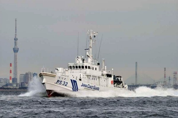 Japanese patrol ship allegedly initiated contact with Taiwan fishing boat. (Japan Coast Guard photo)