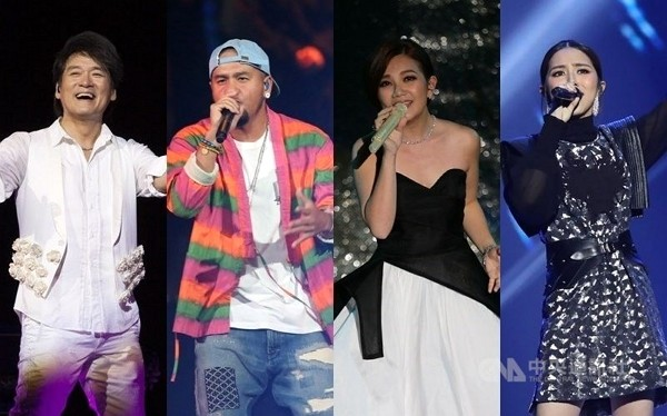 Singers nominated in this year's Golden Melody Awards: (from left) Wakin Chau, Ayal Komod, Fish Leong and G.E.M.