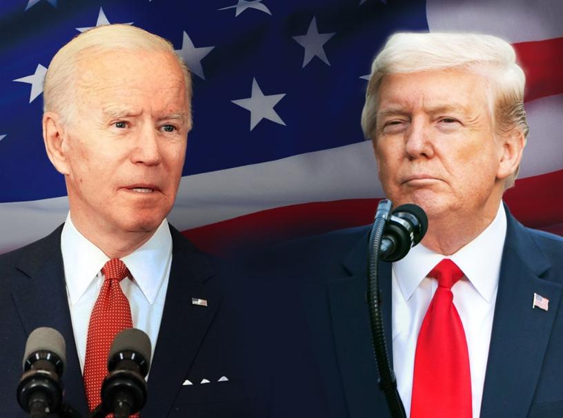 美國總統辯論委員會9日發表聲明,民主黨候選人拜登(左)與美國總統川普(右)原定15日登場的第2場總統辯論不會舉行。(中央社製圖;左圖取自f...