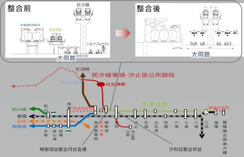 Proposed routes between Taipei and Keelung. (MOTC image)