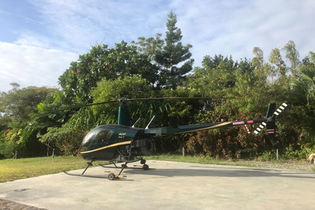 The Robinson R22 helicopter impounded by Taitung prosecutors