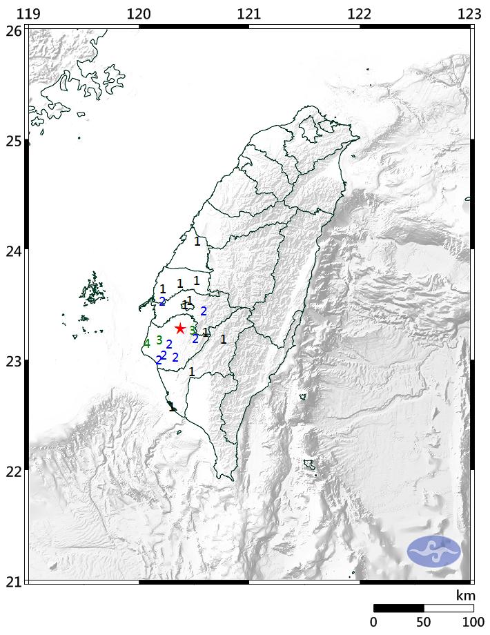 台南地區17日晚間8時發生芮氏規模4.2的地震(圖片來源:中央氣象局提供)