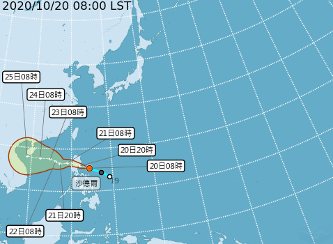 Tropical storm Saudel likely tobring moisture to northern Taiwan. (CWB image)