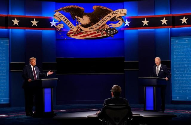 President Donald Trump (left) and Democrat candidate Joe Biden (right) at their Sept. 29 debate