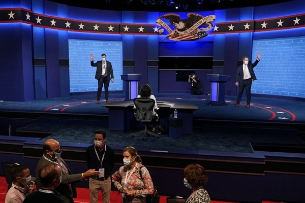 Mock debaters perform onstage as preparations take place for the second Presidential debate at Belmont University, Wednesday, Oct. 21, 2020, in Nashvi...