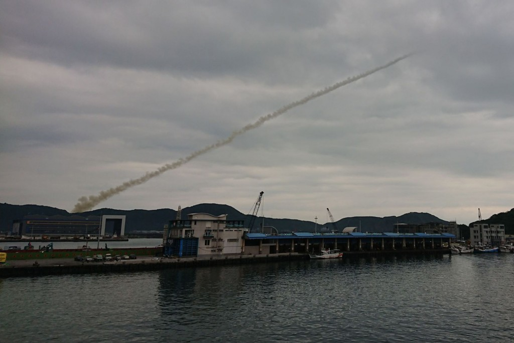 An exhaust plume is all that residents of Yilan County saw of Wednesday morning's missile test.