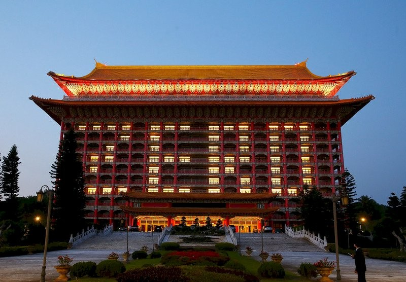 "Rooms in Grand Hotel Taipei lit up to read ""ZERO."""