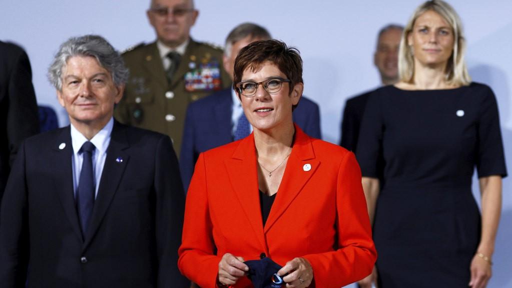German Defense Minister Annegret Kramp-Karrenbauer (center)