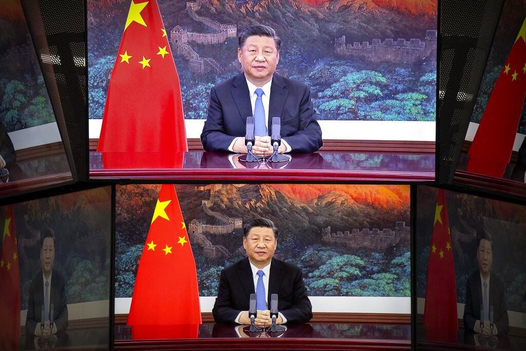 中國國家主席習近平透過預錄影片在中國國際進口博覽會致詞(照片來源:美聯社提供)