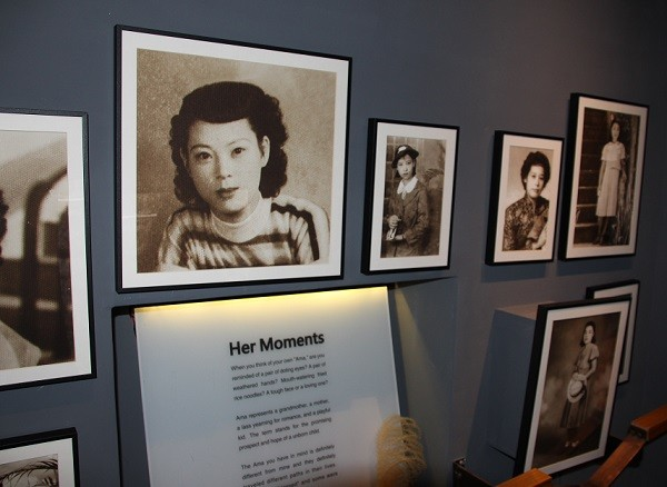 Photos of Taiwanese comfort women in their youth on display at Ama Museum.