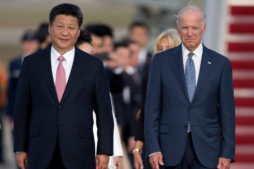 Then-Vice President Joe Biden, right, with Chinese President Xi Jinping in 2015.