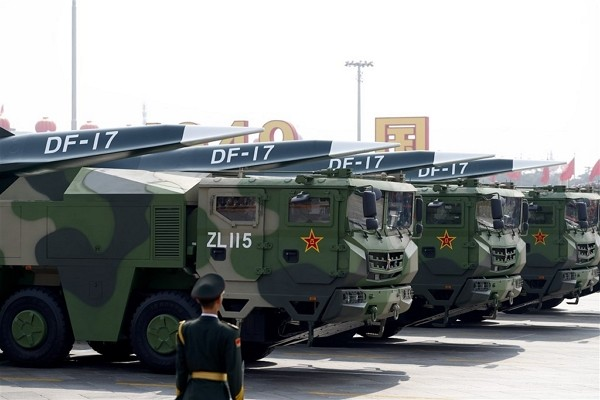 DF-17 hypersonic missiles displayed during a military parade as part of China's 70th National Day celebrations on Oct. 1, 2019.