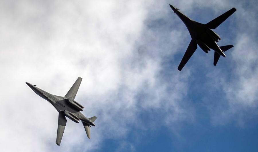 Two B-1B Lancer bombers. (USAF photo)
