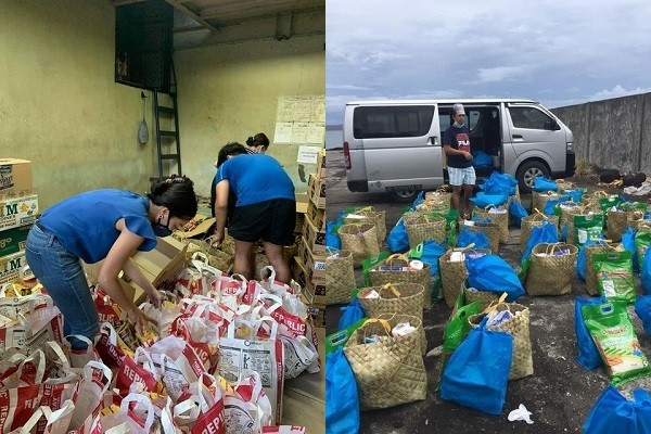 Bayong being prepared for typhoon victims. (Cara Purugganan photos)