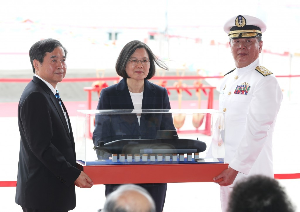 President Tsai Ing-wen (center) at the groundbreaking ceremony for the submarine yard in May 2019
