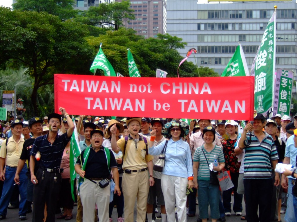Protestors making it clear that Taiwan is separate from China. (Internet image)