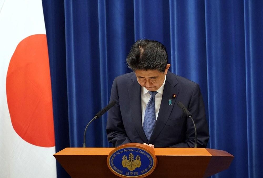 Abe Shinzo announcing his resignation as prime minister on Aug. 28