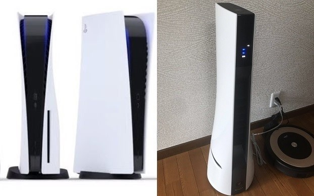 PS5 (left), air purifier (right). (Twitter, @bishutoyaju images)
