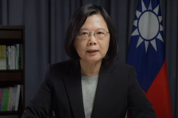 President Tsai Ing-wen accepts ALEC's International Pioneer Award for Leadership on Dec. 3 (Presidential Office video screen capture)