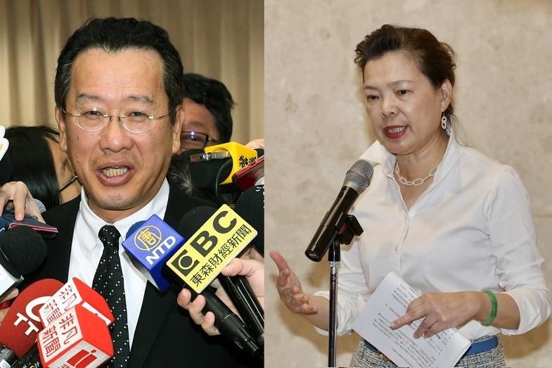 左為國安會秘書長顧立雄, 右為經濟部長王美花 (原圖: 中央社/後製: TN)