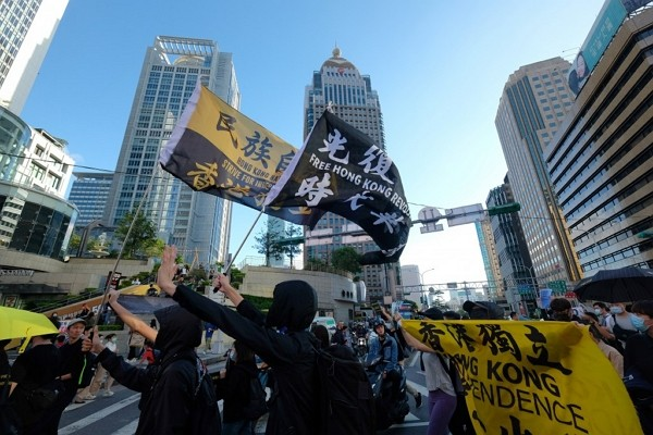 A rally held in Taipei in support of Hong Kong pro-democracy activists.