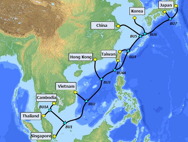 SJC2 cable to connectSingapore, Thailand, Cambodia, Vietnam, Hong Kong, South Korea, Japan, Taiwan, and China. (Chunghwa Telecomphoto)