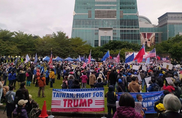 Taiwanese Trump supporters rally in Xinyi Square.
