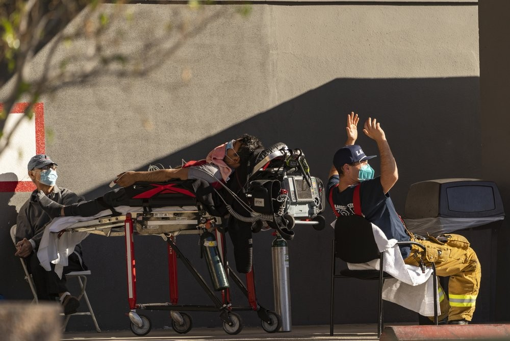 Patients waiting for treatment outside a hospital in Los Angeles, California