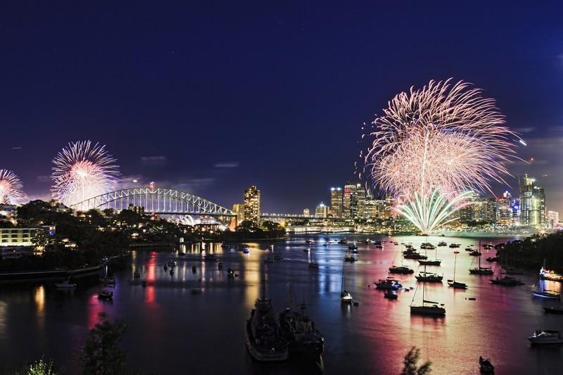 雪梨跨年海上煙火(圖/Getty Images)