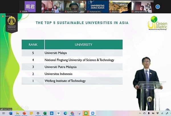 NPUST dinobatkan sebagai universitas paling berkelanjutan di Taiwan pada tahun 2020 UI GreenMetric